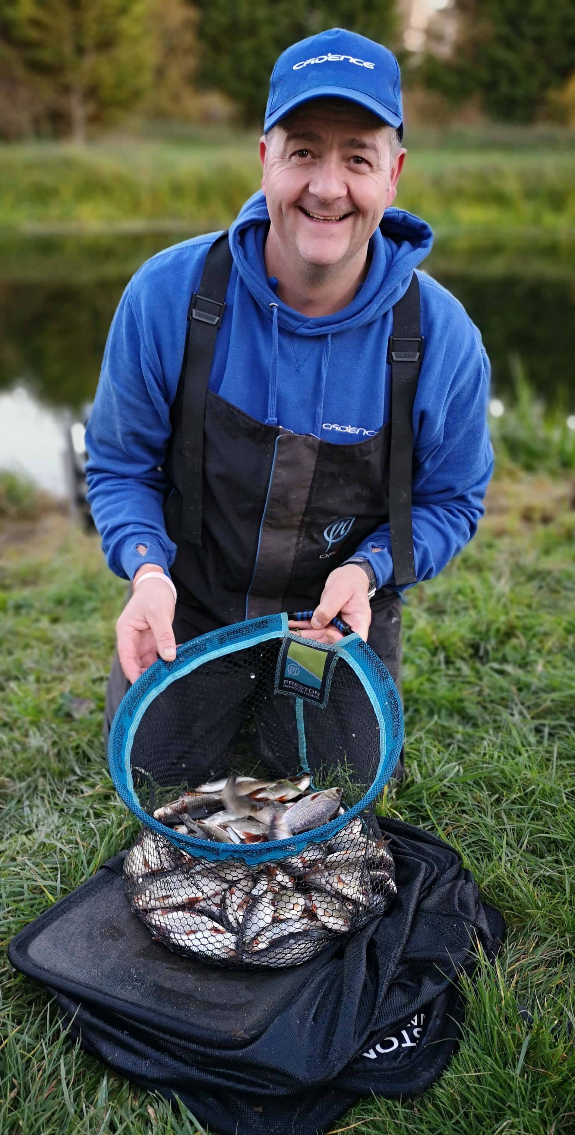 Adi Stokes with a Roach bag from the River Nene, Ringstead